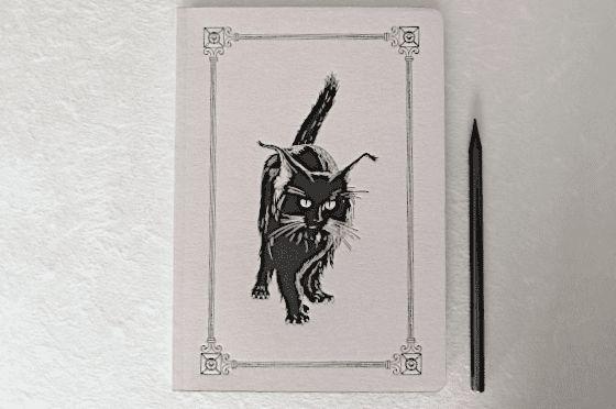 Cahier A5 Chat noir imprimé sur presse ancienne