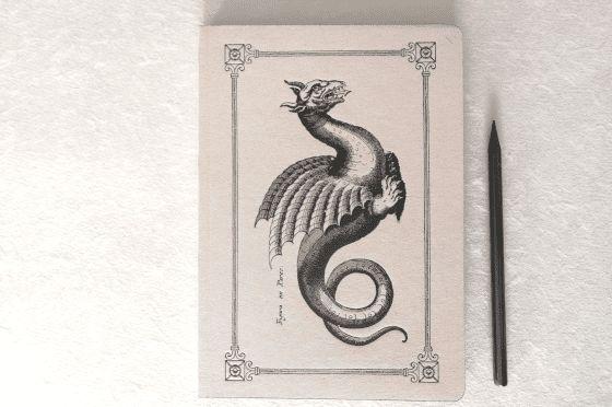 Cahier A5 Dragon imprimé sur presse ancienne