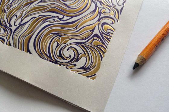 Papier marbré sur letterpress
