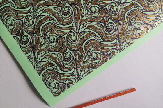 Papier embossé Miel doré à chaud