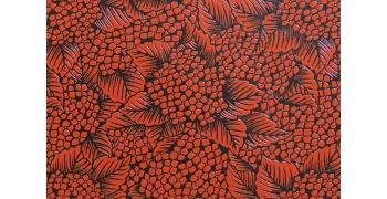 Urushi hortensias rouge sur noir