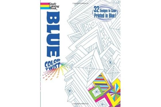 Coloriage géométrique trait bleu