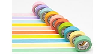 Coffret 10 Masking Tape coloris unis lumineux