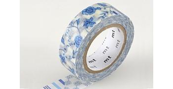 Masking tape floral bleu