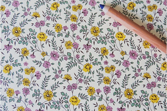 Papier florentin - petites fleurs jaunes et roses
