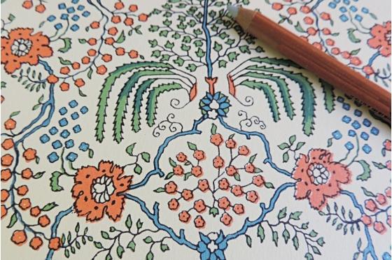Papier florentin - buisson fleuri