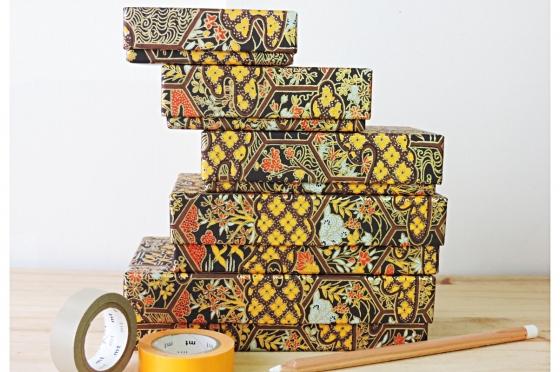 5 boites gigognes alvéoles japonaises or