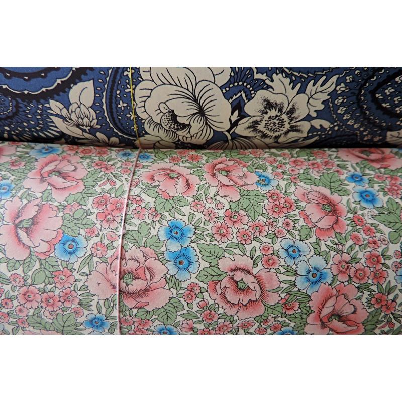 Papier florentin - Fleurs de juillet rose bleu - Les papiers de Lucas