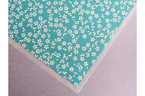Papier indien - petites fleurs de cerisier turquoise