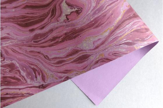 Papier indien marbré violet gold