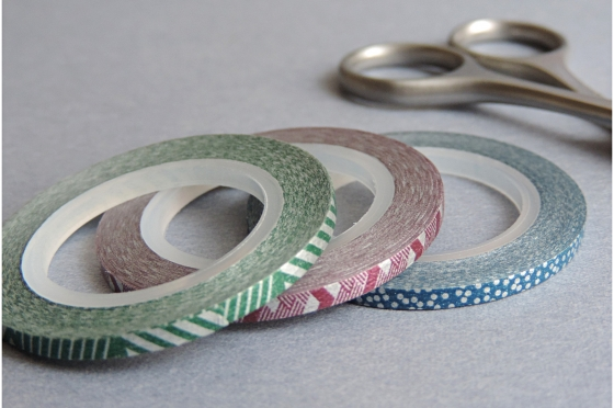 3 masking-tape slim© fins lignes et pois 3mm