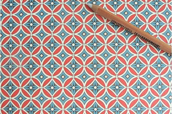 Papier florentin - fleurs bleues écusson rouge
