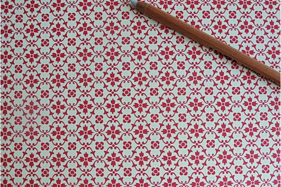 Papier florentin - Tapisserie Fleurs rouges