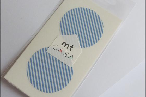 mt casa sticker rond  bleu clair rayé