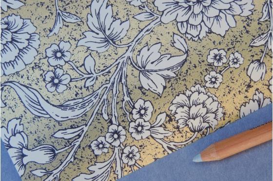 Papier florentin Rossi1931© - Fleurs sur fond or