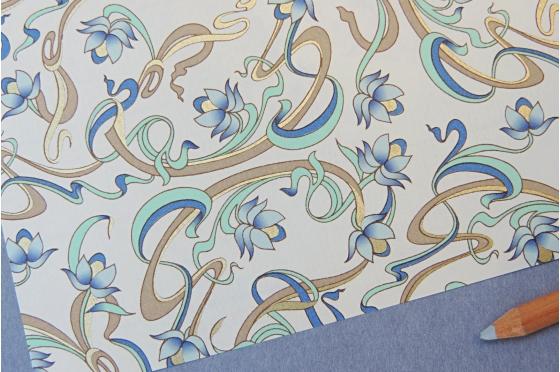 Papier décoratif Rossi1931© - Art Nouveau bleu