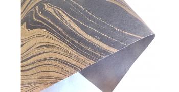 Papier indien marbré gold black