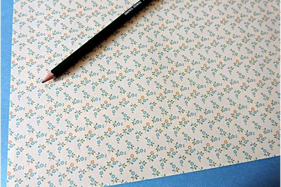 Papier florentin - Petites fleurs jaune bleu