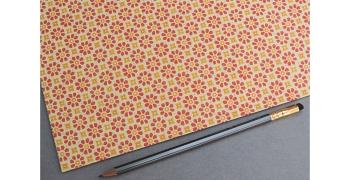 Papier florentin - fleurs rouge orange