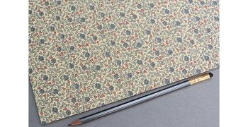 Papier florentin - rosiers sauvages bleu/rouge