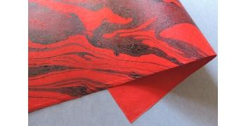 Papier indien marbré rouge Tokyo