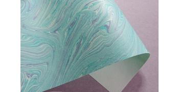 Papier indien marbré Turquoise Mauve
