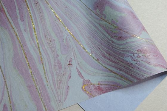 Papier indien marbré lapis étincelle or