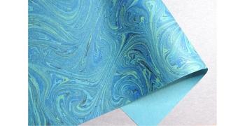 Papier italien marbré bleu