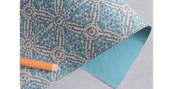 Papier indien Charango bleu taupe
