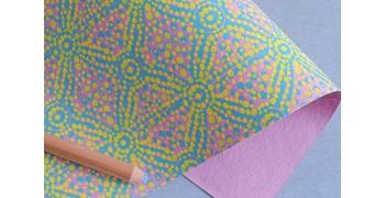 Papier indien Charango bleu jaune