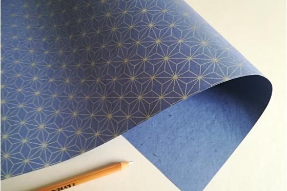 Papier motif Asanoha Azur Argent