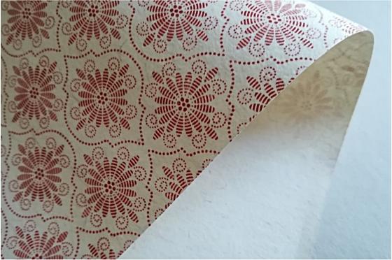 Papier motif Andalousie Ivoire rouge
