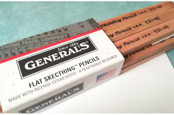 Crayon Plat 4B General's Charcoal Pencil 531-4B Soft