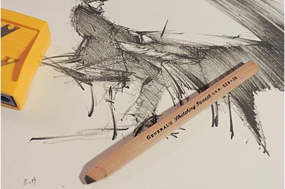 Crayon Plat 6B General's Charcoal Pencil 533-6B Soft