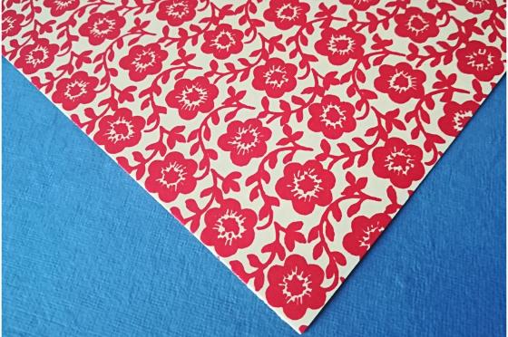 Papier florentin - fleurs rouges