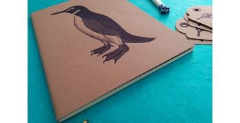 """Cahier A5 Penguin + 6 étiquettes américaines """"old Style"""""""