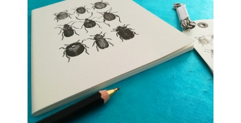 "Cahier A5 Beetles+ 6 étiquettes américaines ""old Style"""
