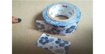 masking-tape fab© hibiscus navy blue