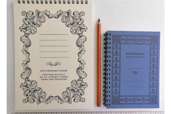 """Notebook A5 + Notepad A6 """"old Style"""" à spirales"""