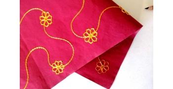 Papier indien brodé rouge fleurs jaunes