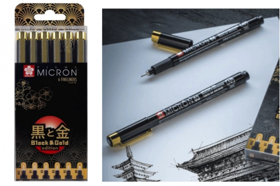 Set 6 Pigma micron© Edition Gold & Black
