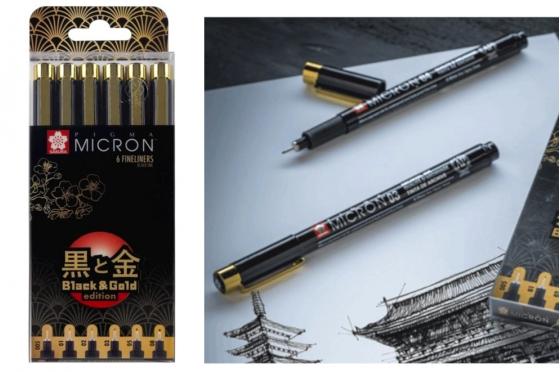Set 6 Pigma micron© Edition Gold & Black